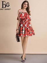 Baogarret Fashion Runway Summer Dress Womens Spaghetti Strap Elegant Floral Print Casual Holidays Party Short