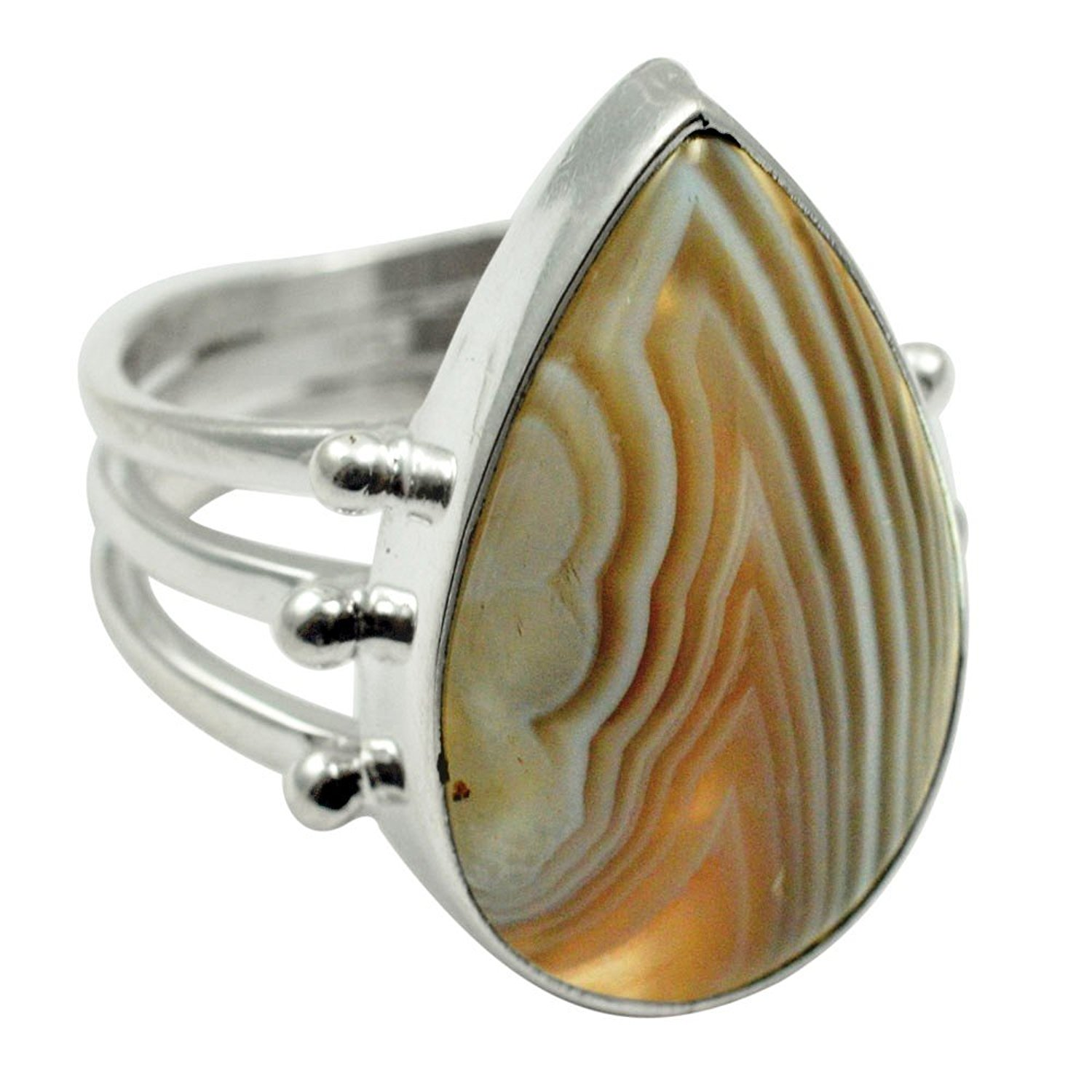 Lovegem Genuine Botswana Agate RING 925 Sterling Silver,Size: 7.75 , AR2902 tumbled pink botswana agate mostly 5 8 1 1lb bag