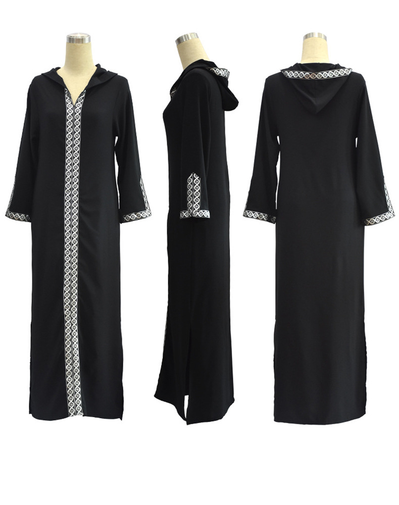 2019 spring Winter Muslim Dress Black Hooded Woman Loose Plus Size 7XL 6XL 5XL Sexy Split Fork Maxi Long Dresses CM173