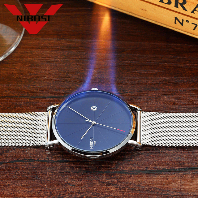 NIBOSI Men Blue Stainless Steel Ultra Thin Watches Men Classic Quartz Watches Luxury Date Men's Wrist Watch Relogio Masculino