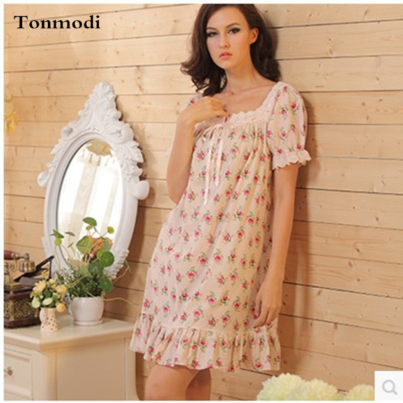 Nightgowns Women Summer Nightdress Lace Vintage Flowers Cotton Night ...
