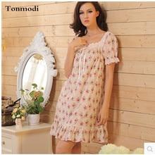 Nightgowns Women Summer Nightdress Lace Vintage Flowers Cotton Night Robe Women s Lounge Nightgown Sleepshirts