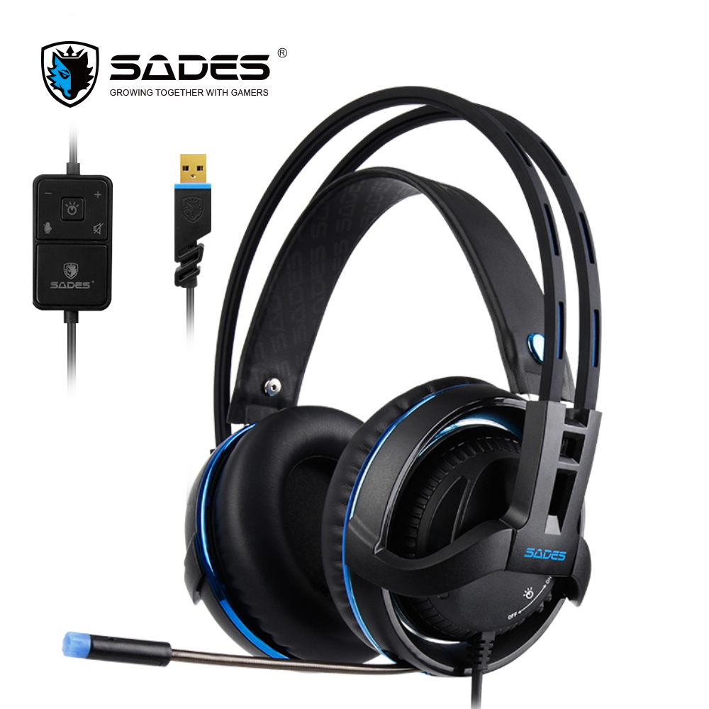 SADES Diablo Realtek Gaming Headset Headphones Surround Sound USB Headphones Volume RGB Light sades a6 usb 7 1 surround sound stereo gaming headset headband over ear headphone with mic volume control led light for pc gamer