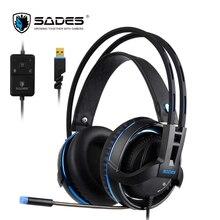 SADES Diablo Realtek Gaming Headset Headphones Surround Sound USB Headphones Volume RGB Light