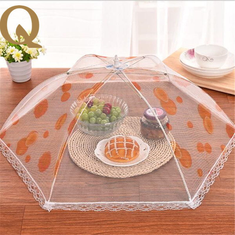 2017 the most popular fashion lace yarn folding cover food fruit can be used to cover