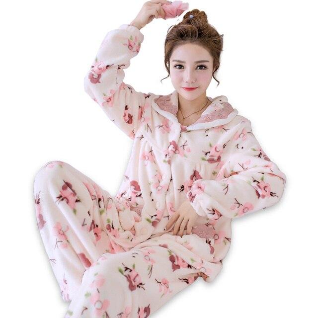 e5d4b54995efa Printed Flannel Sleepwear Winter Lady 2 Piece Sleep Set Long Sleeve Pajamas  Pyjama Suit Thick Warm