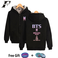 2018 BTS Kpop Bangtan Boys Women Oversized Hoodies Sweatshirts With Zipper Cotton Tracksuit Winter Jacket Bts