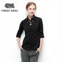 NAKED ZEBRA New Autumn Woman Blouse Solid Color Long Sleeve Pockets Blousas Lady Office Work Basic
