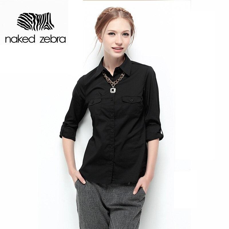 Naked zebra nueva mujer otoño blusa de manga larga de color sólido bolsillos de