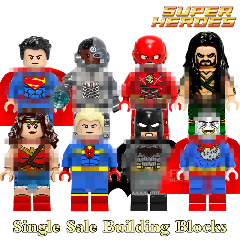 Building Blocks Cyborg Aquaman Bizarro Marvel Figures Super Heroes Avengers Star Wars Action Bricks Kids DIY Toys Hobbies X0167 building blocks the walking dead figures rick negan carl daryl star wars super heroes set assemble bricks kids diy toys hobbies