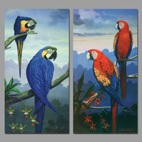 Retro Blue Red Peacock Decoration Animals Flowers Wall Art Picture Birds Landscape Canvas Painting For Living