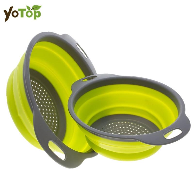 YOTOP 2 Piezas Colador de Silicona Plegable Colador de Silicona de - Cocina, comedor y bar