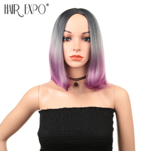Hair Expo City Cosplay Wigs Synthetic Pink Natural Hairs Short Straight Middle Part Costume Party Wig Lady Daily For Women