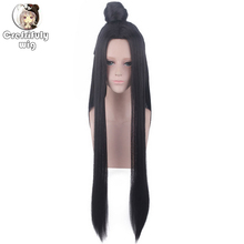 цена на Anime Ancient Costume Long Straight Black Cosplay Wig With Bun Heat Resistant Synthetic Hair Play Wigs + Wig Cap