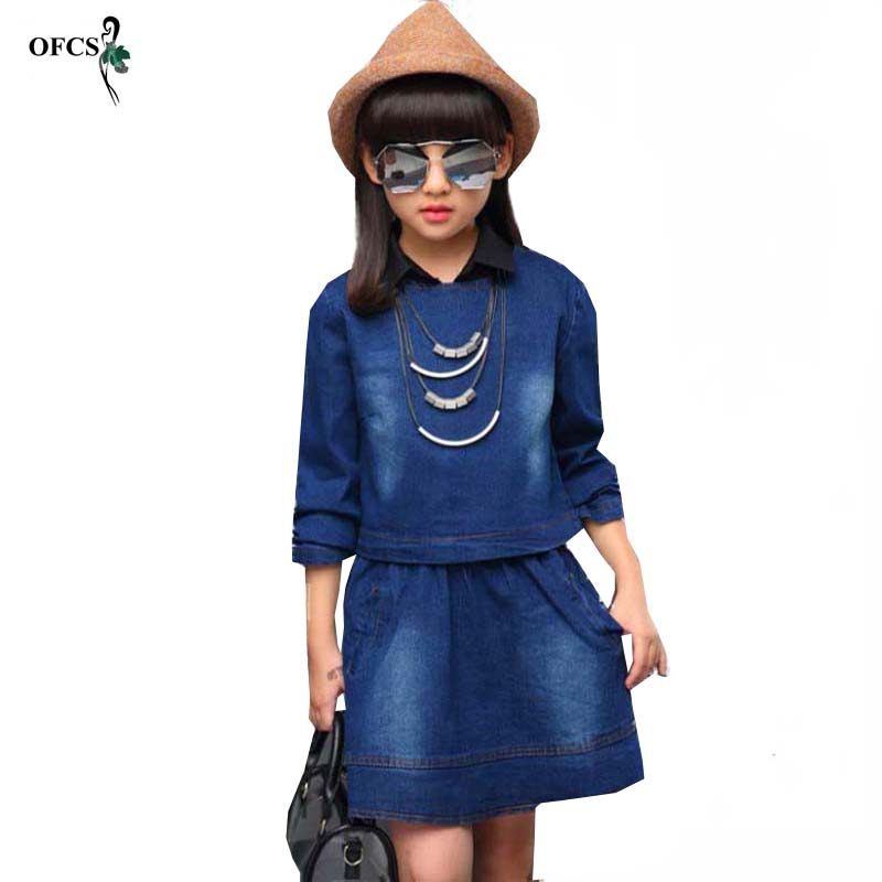 OFCS 2018 New Fashon Kids girls Spring Children's Cowboy Suit Cotton Long-Sleeved T-shirt two-piece Skirt Children's Sets new brand 2pcs ofcs baby boy sets cotton spring
