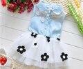 Envío gratis 2016 verano nuevo vestido del bebé niña coreana de flores vestido de los niños vestido de vaquero A145