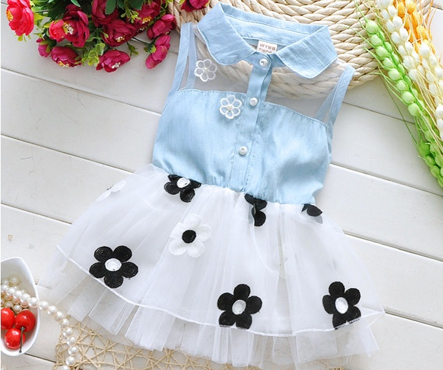 New baby summer dress for girls 1-3 years old turn-down collar sleeveless cotton with flower infant dresses A145