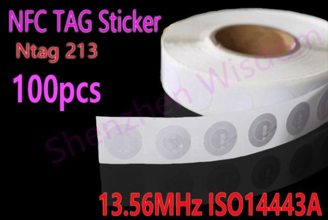 bilder für 100 stücke Ntag213 NFC Aufkleber Tag NFC Aufkleber Universal Label RFID Tag für NFC handys