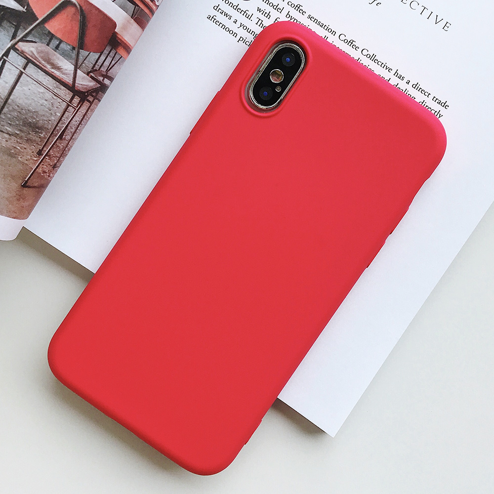 KIPX1124R_1_JONSNOW Pure Color Silicone Case for iPhone XS XR XS Max 6 6S 6P 7 8 Plus Ultra-thin Matte Dirt-resistant Soft TPU Solid Cover