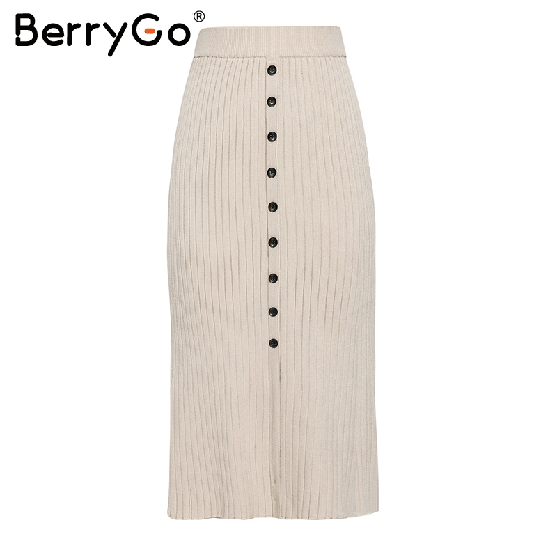 Image 4 - BerryGo Vintage bodycon knitted skirts women Buttons a line striped midi skirts female Elegant office ladies pencil skirts 2019Skirts   -