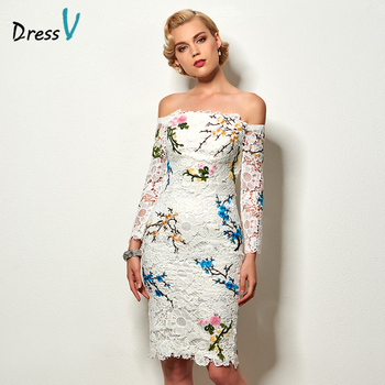 Dressv ivory embroidery lace cocktail dress off the shoulder appliques knee length long sleeves short cocktail dress party dress cocktail dress