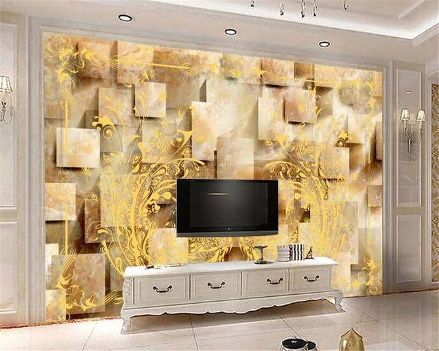 Beibehang 3D Behang 3D Gouden Pauw Patroon Marmer Europese Woonkamer ...
