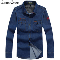 New AFS JEEP Denim Shirt Men S Brand Fashion Casual Long Sleeved Shirt Single Breasted Solid