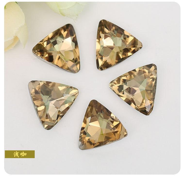 Crystal yellow trianglar Pointed bottom glass crystal rhinestones DIY Wedding dress and headpiece jewelry accessories 20pcs/pack