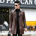 2016 New Fashion Men Leather Coat Double Breasted Men's Overcoat Faux Leather Windbreaker Trench Coat with Tie Belt  KL8850