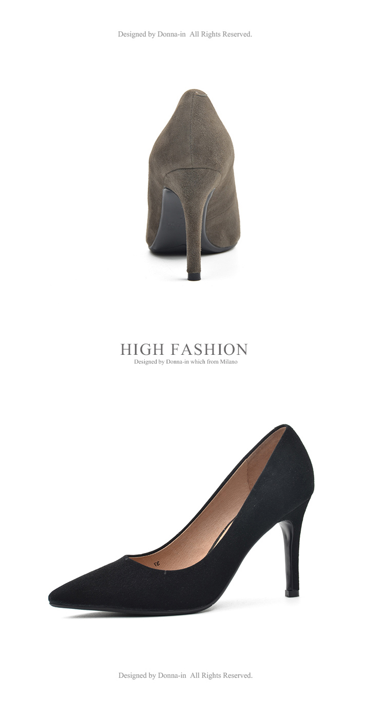 Donna-in 2017 New Style High heels pumps Natural suede leather Sexy Pointed Toe Office Singles Heeled woman Shoes 3255-1 (18)