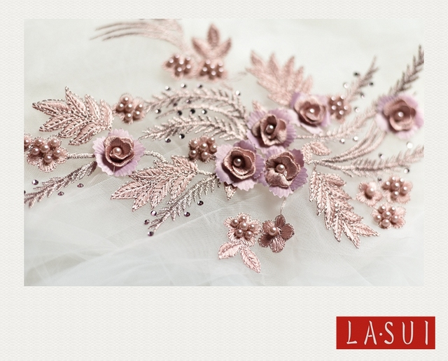 LASUI 25 34cmColor bead hot diamond embroidery 3D lace flowers wedding diy  material fashion clothing decorative accessories 0009 6f8f6b97fd37