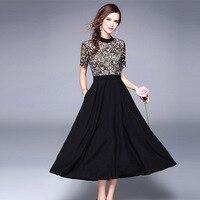 European runway high end lace embroidery fashion dress female summer dress vestidos summer patchwork dress black short sleeve
