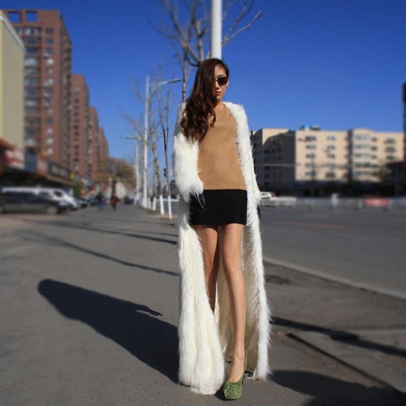 Aikook Long Windbreaker Women Slim Luxury Faux Fur Coat Long Jacket Artificial Fox Fur Ultra Light Imitation Fox Fur Outwear