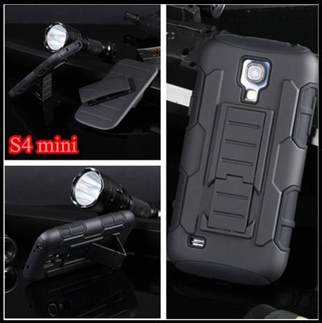 Tough Hybrid Armor case Capa Kickstand Lock Belt Clip Shock Proof Phone cover For Samsung Galaxy S4mini S4 SIV Mini i9190