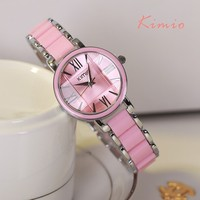 Kimio 2018 Brand Ladies Imitation Ceramic Watch Luxury Gold Bracelet Watches with Fine Alloy Strap Women Dress Watch Gift Box