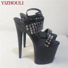 Dekoracja z nitów w nowym stylu, pasek z klamrą na kostkę, szpilki o wysokości 20 cm, wodoodporne sandały na platformie