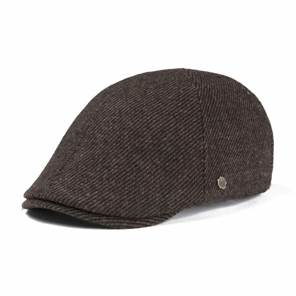 77248ec11f4 VOBOOM Flat Cap Wool Tweed Ivy Caps Men Women Large Plaid Beret Hat Autumn  Winter Cabbie