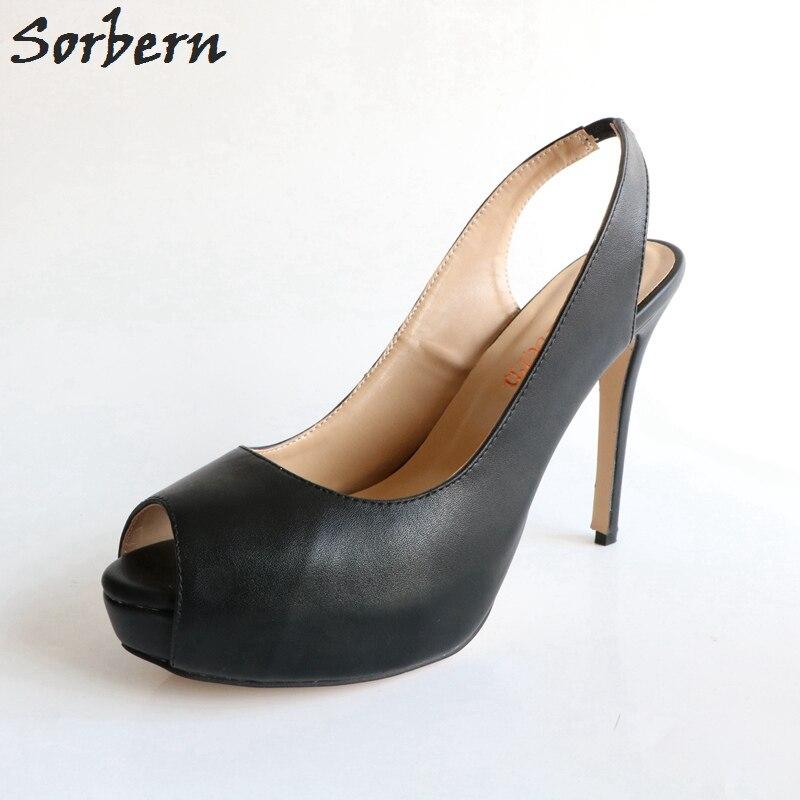 Sorbern Black Slingbacks Women Pumps High Heel Shoes Wedding Party Shoe Dressy Heels Women Platform Pumps Custom Colors цена