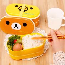 Микроволновая печь Rilakkuma Bento микроволновые ноздри цыплята многослойная детская коробка для завтрака с палочками LX6170