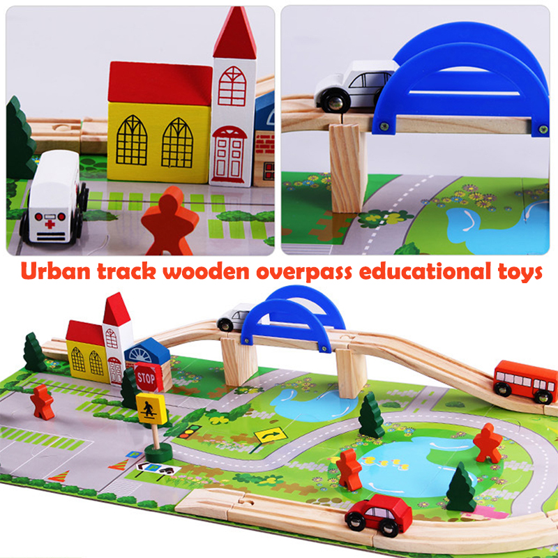 Wooden Track Train Wooden Overpass City Train Toy Multicolor Decor Safe Material Kidsroom Durable Colour Game Kids Puzzle Toy