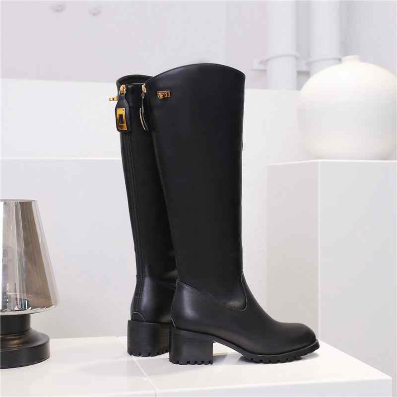 Krazing maceta nuevo streetwear zapatos de tacón de cuero genuino de invierno punta redonda Cierre de metal mantener caliente montar botas altas de muslo l33 - 5