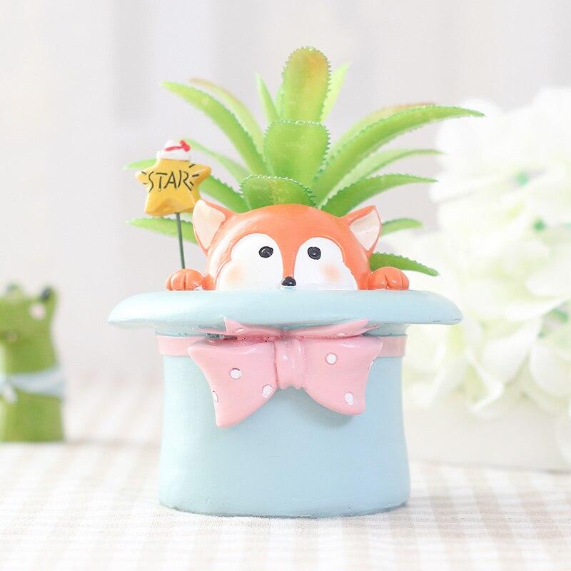 3 49 7 De Réduction 1 Pièces Mini Pot De Fleur Dessin Animé Belle Créative Conception Animale Jardinière Pots Maison Décoration Pot De Fleurs Comme