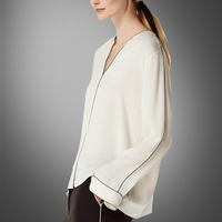 Spring New Fashion Loose Silk Long Sleeved Shirt Europe And The United States High End V