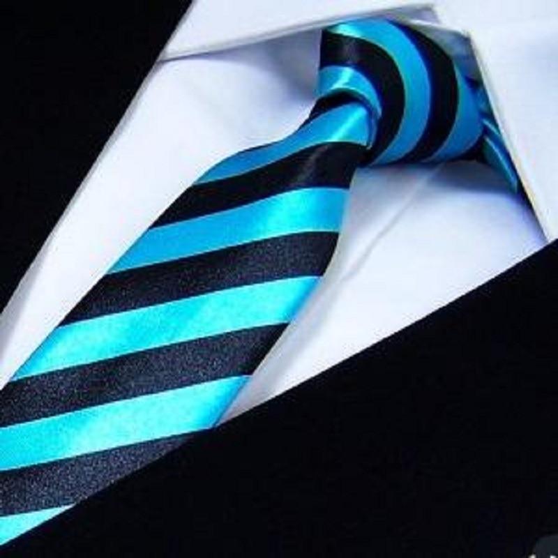 2019 Λεπτό δερμάτινο γραβάτα Γραβάτα ανδρών Πολυεστέρες καρφίτσες κολιέ μόδας μπλε λευκή λωρίδα 5CM WIDTH corbatas gravata