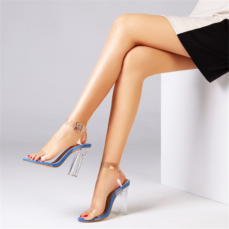 JIANBUDAN Transparent sexy High heel sandals women 39 s summer office shoes Ankle buckle Open Toe Pumps 10cm Round Heels sandals in High Heels from Shoes