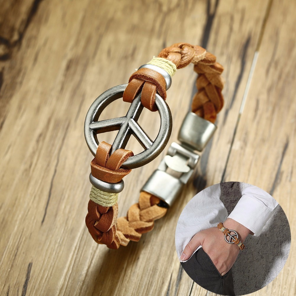 Wrist Cuff Peace Sign Emblem Woven Leather Bracelet for Men Teens Hippie Wristband Vogue Braslet Brackelts Jewelry Brown