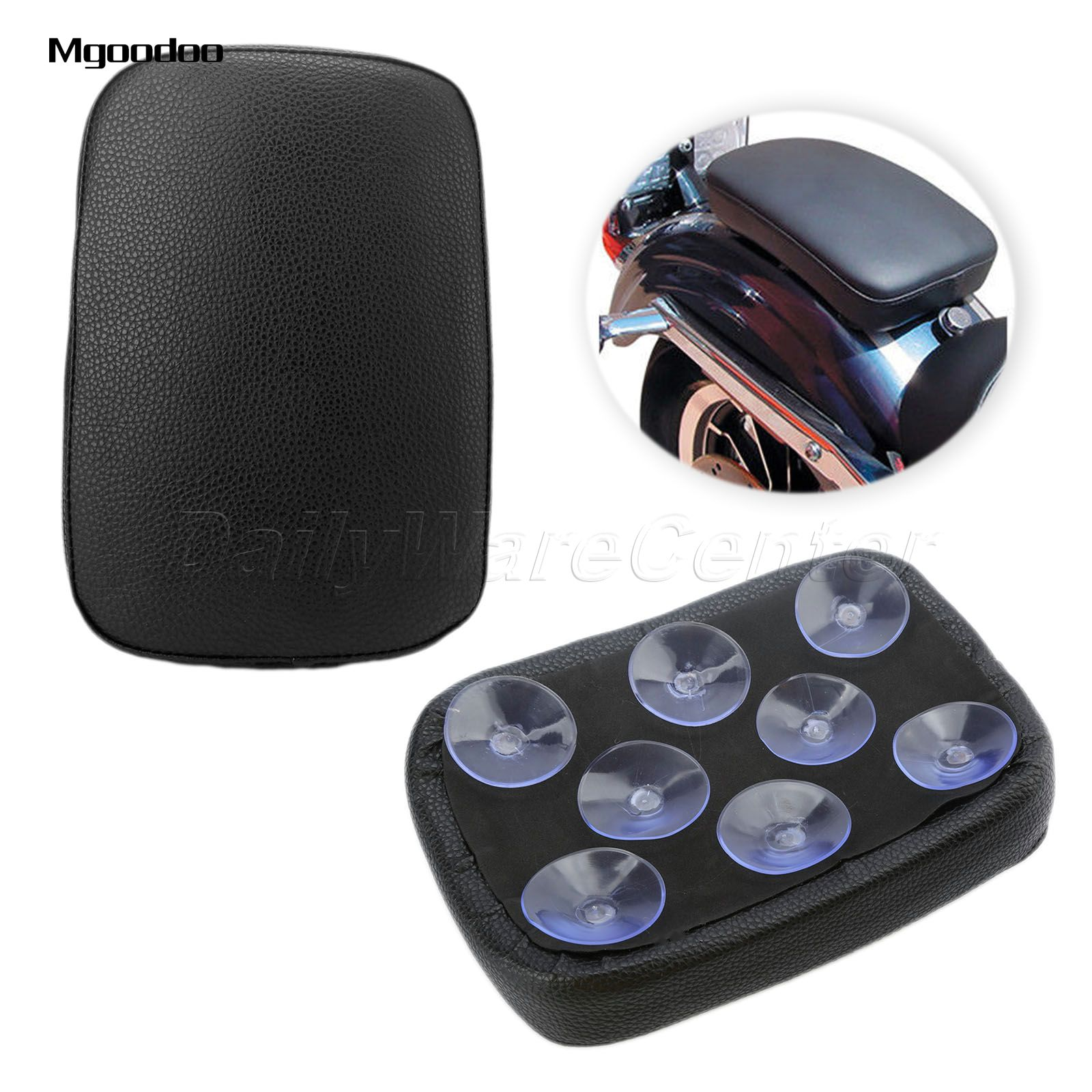 Mgoodoo Motorcycle Rear Passenger Cushion Seat Pad Pillion 8 Suction Cups For Harley Dyna Sportster Softail Touring Xl 883 1200