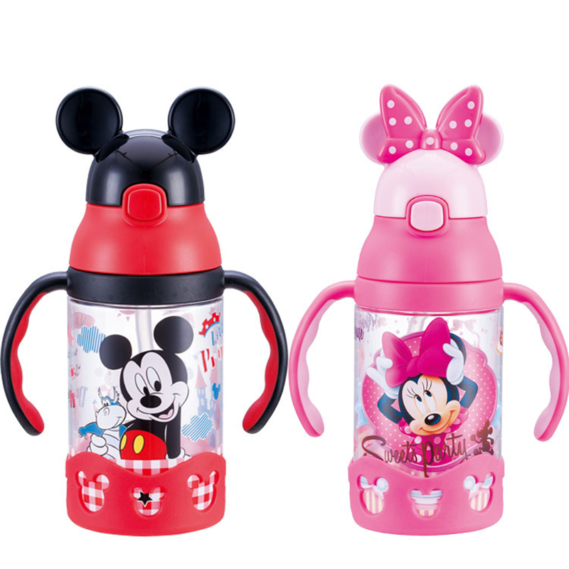 Disney 400ML Children Press The Cup Handle Baby With Straw Leak-proof Plastic Cup Flip Lovely Portable Children's Bottle