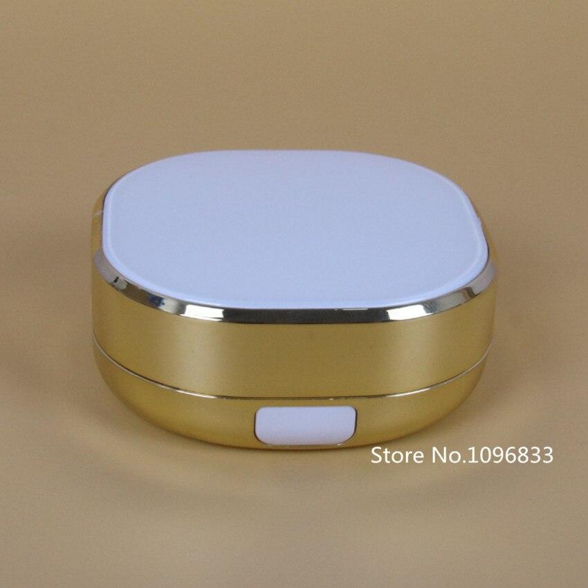 10PCS/SET 2PCS/SET DIY Gold Color BB CC Air Cushion Case with Sponge Powder Puff Liquid Foundation Cosmetic Maquiagem Empty Box 2pcs waterdrop sponge puff and 2pcs holder