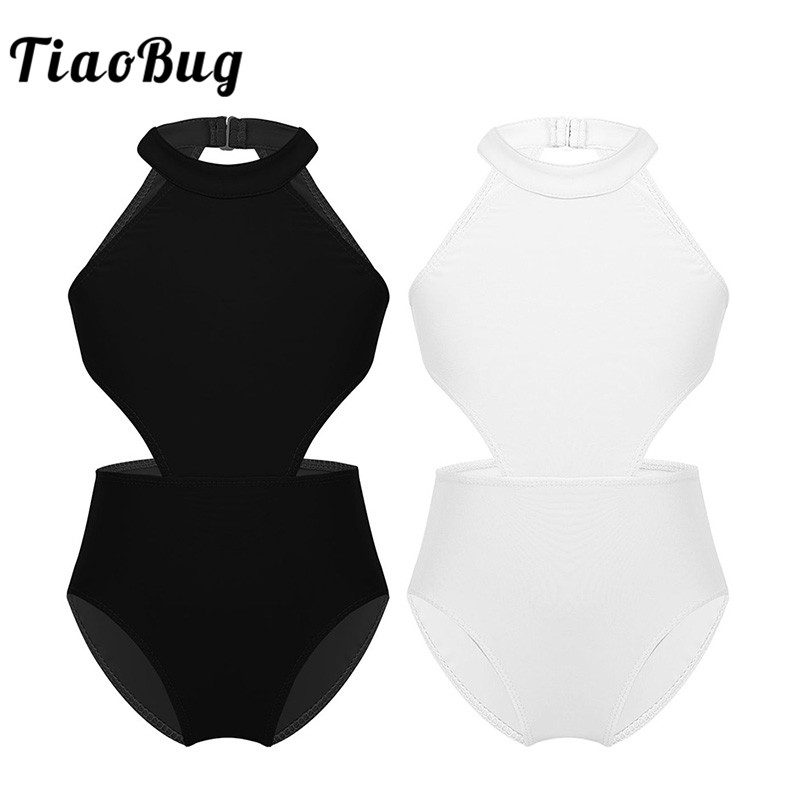 TiaoBug Girls Halter Hollow Waist Ballet Leotards Dance Wear Kids Gymnastics Leotard Bodysuit Child Practice Stage Dance Costume